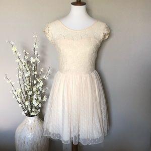 My Michelle Ivory Lace Overlay Pouf Dress, Size 3